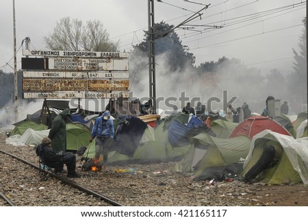 Idomeni, Greece - April 16, 2016  Hundreds of immigrants are in a wait at the border between Greece and FYROM waiting for the right time to continue their journey from unguarded passages