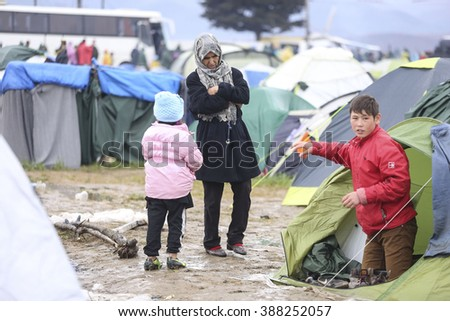 Idomeni, Greece. 9 March 2016. 14.000 refugees stuck in Greek borders as FYROM has closed the borders.The weather is bad with cold and rain. People are sick, 7000 children and there is not enough food