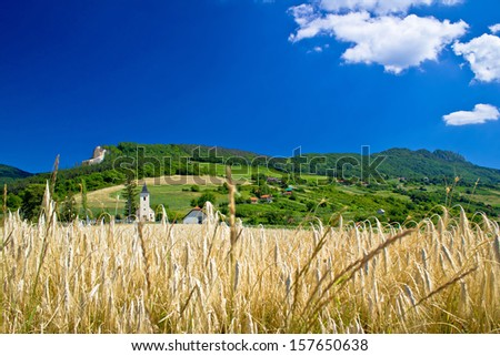 Idyllic agricultural mountain landscape of Croatia, Kalnik mountain region