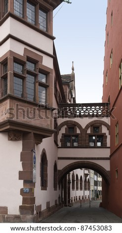idyllic alley scenery in Freiburg (Germany)