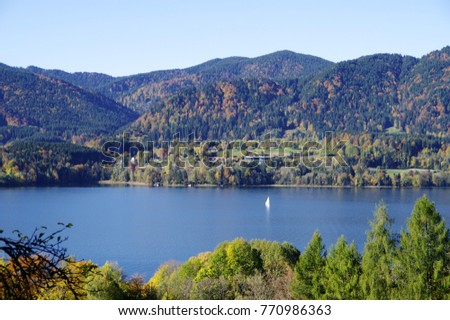 idyllic autumn landscape with lake in southern Germany,