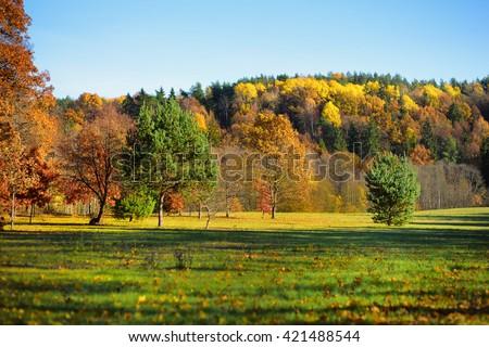 Idyllic autumn scenery in Vilnius, Lithuania - stock photo