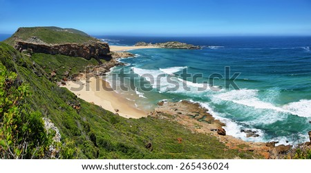 Idyllic beach in Robberg nature reserve in South Africa - stock photo