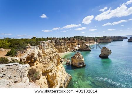 Idyllic beach praia da Marinha, Lagoa, Algarve - stock photo