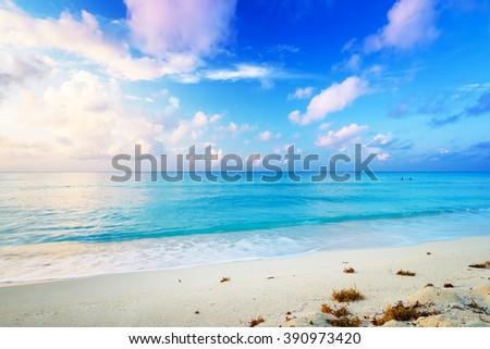 Idyllic Caribbean beach in Playa del Carmen at sunrise, Mexico - stock photo