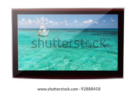 Idyllic Caribbean scenery on the flat TV display - stock photo