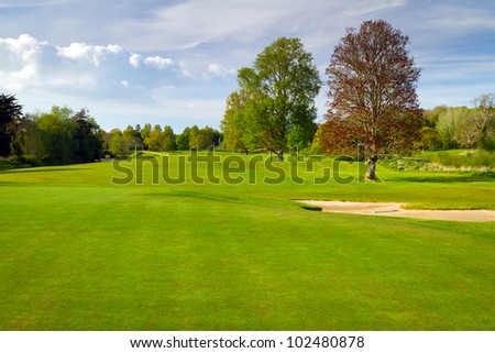 Idyllic golf course scenery - stock photo