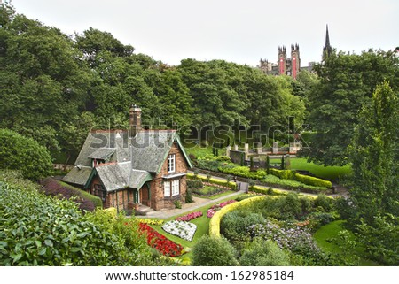Idyllic house at Princes Street Gardens, Edinburgh. Scotland. - stock photo