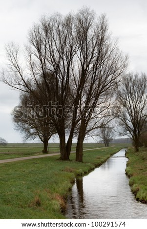 Idyllic image of trees along a stream in the area of Oldenburg, North of Germany. - stock photo