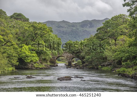 Idyllic Irish Setting With An Old Bridge Over A Beautiful River, Kerry, Ireland