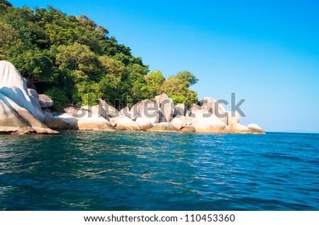 Idyllic Island Lagoon Boulders - stock photo