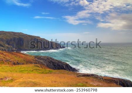 Idyllic Keem Beach on Achill Island, Co. Mayo - Irleland - stock photo