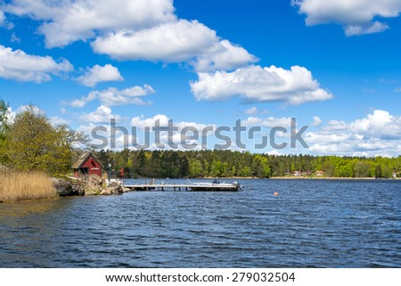 Idyllic landscape for Swedish sea skerries - stock photo