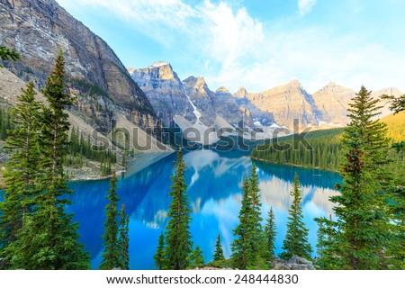 Idyllic Moraine Lake in Banff National Park, Canadian Rockies - stock photo