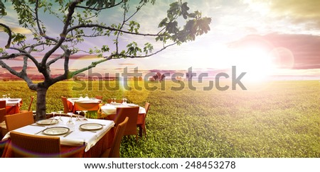 Idyllic outdoor restaurant in the green fields and sunset - stock photo