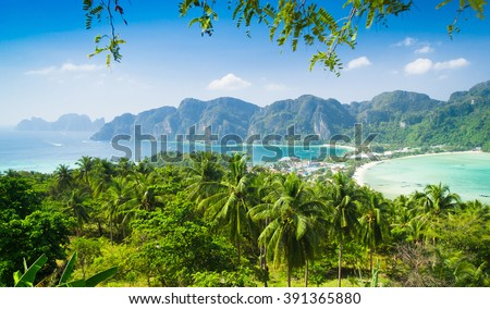 Idyllic Panorama Exotic Backdrop  - stock photo