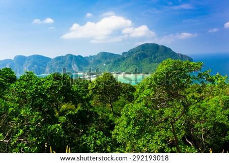 Idyllic Panorama Palm Island  - stock photo