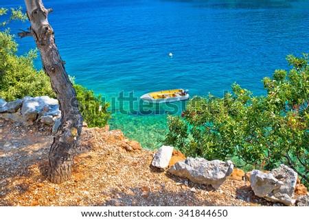 Idyllic pine tree beach in Croatia, Dugi otok island - stock photo