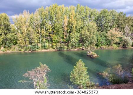 idyllic river view - stock photo