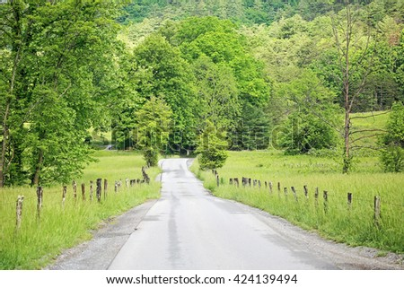 Idyllic road - Great Smoky Mountains National Park, Tennessee - stock photo