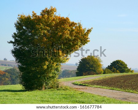 idyllic rural autumn scenery in southern germany - stock photo