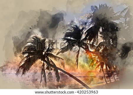 Idyllic scene of palm trees near the sea at sunset. Digital watercolor painting. Thailand, Samui island