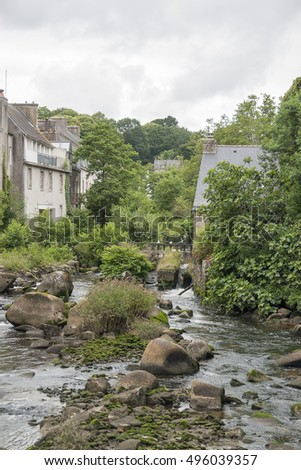 Idyllic scenery at Pont-Aven, a commune in the Finistere department of Brittany in northwestern France.