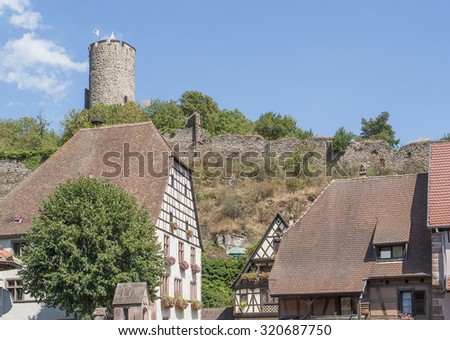 Idyllic scenery in Kaysersberg, a city in Alsace, France - stock photo