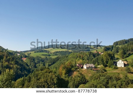 idyllic scenery in the Black Forest at summer time - stock photo