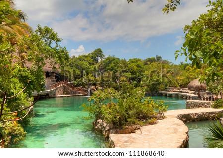 Idyllic scenery of Caribbean Mayan jungle of Mexico - stock photo