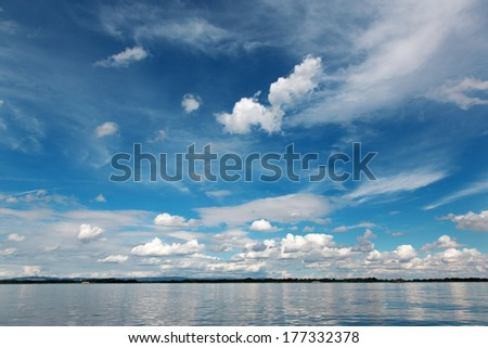 idyllic summer cloudscape over Cunovo barrage on the Danube - Slovakia
