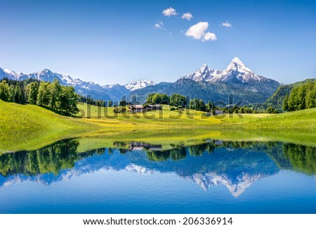 Idyllic summer landscape with clear mountain lake in the Alps - stock photo