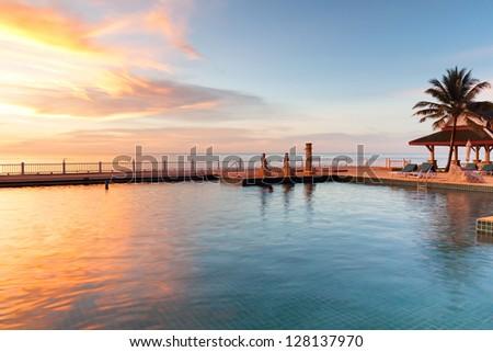 Idyllic sunset in Thailand - stock photo
