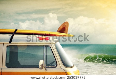 Idyllic surfing way of life with a van and long board near the sea