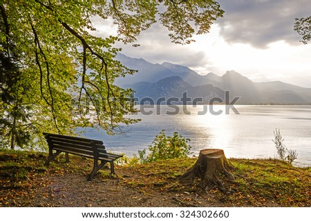 idyllic tranquil place, golden october at the lakeside walchensee, upper bavaria - stock photo