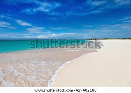 Idyllic tropical beach on Barbuda island in Caribbean with pink sand, turquoise ocean water and blue sky - stock photo