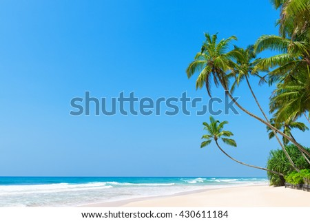 Idyllic tropical beach with clean white ocean sand and palm trees over the water with clear blue sky - stock photo