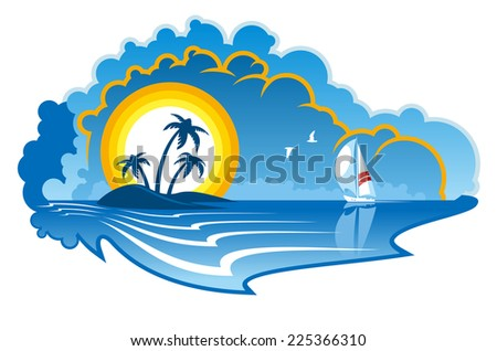 Idyllic tropical island with palm trees and a yacht or sailboat depicting a summer vacation, travel or cruise - stock photo
