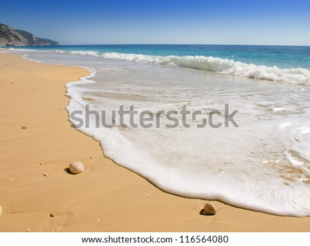 Idyllic tropical sand beach - stock photo