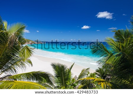 Idyllic tropical white sand beach in Seychelles