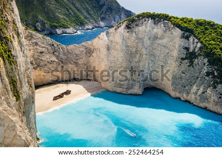 Idyllic view of beautiful Navagio Beach on Zakynthos Island in Greece - stock photo