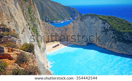 Idyllic view of beautiful Navagio Beach ( Shipwreck ) on Zakynthos Island in Greece - stock photo
