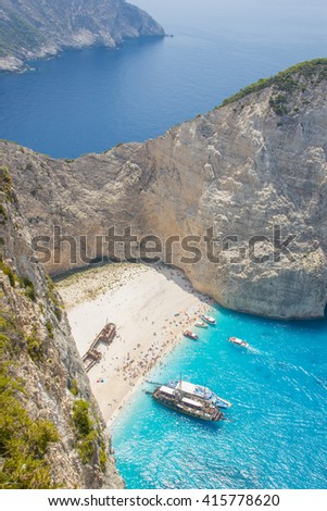 Idyllic view of beautiful Navagio shipwreck  Beach on Zakynthos Island in Greece - stock photo