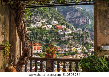 "Idyllic view of the historic and famous coast village ""Positano"" with its church near Naples in South Italy"
