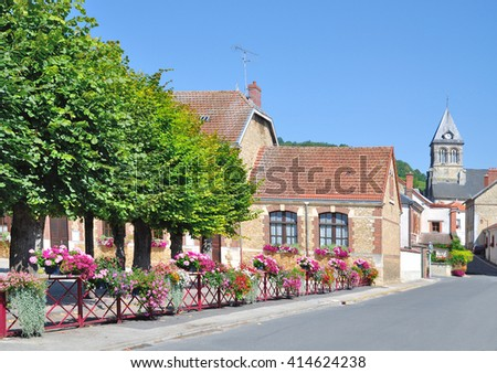 idyllic Village of Flowers at Champagne Touristic Route near Epernay,France - stock photo