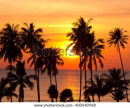 Idyllic Wallpaper Sunset Divine  - stock photo