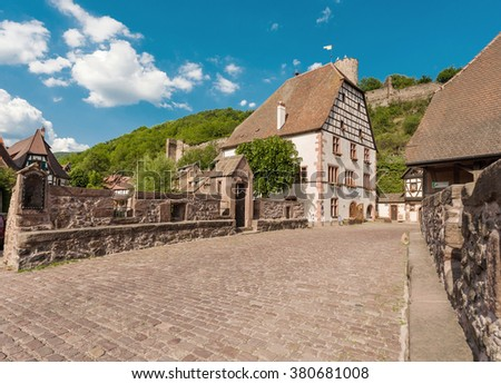 idyllic Wine Village of Kaysersberg in Alsace, France near de Colmar - stock photo