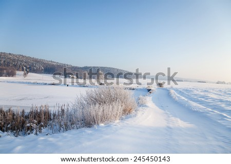 idyllic winter landscape in Thuringia with a frozen pond