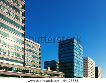 iew of Barcelona, Spain. New houses at Sant Marti residence district againat blu sky - stock photo