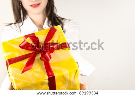 If you were good you will get a present from this beautiful girl - stock photo